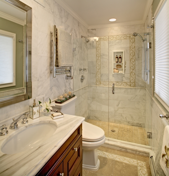 Secaucus Small Traditional Bathroom with Marble Tile / Inlay & Bathrooms | Bathrooms Remodeling Services in NJ