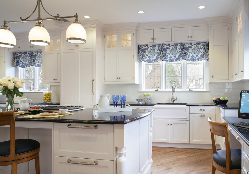 Ridgewood Traditional Transitional White Kitchen With Blue Accents