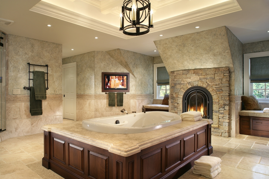 Ho Ho Kus Elegant Master Bathroom With Fireplace, TV And Aromatherapy